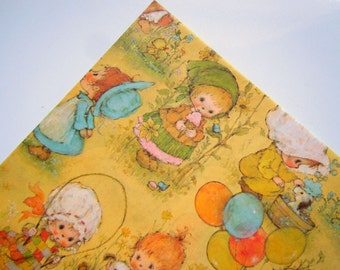Vintage 1980's Happy Birthday Wrapping Paper Yellow Gift Wrap