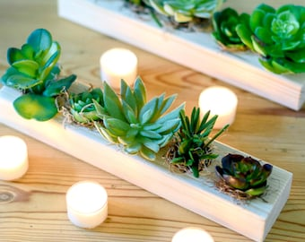 Decorative Faux Succulent Arrangement In Pine Tray | Artificial Succulent Table Centre | Hand-Made By UK Florist
