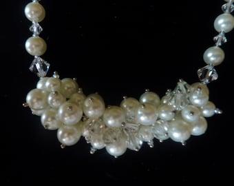 "BEEutiful Swarovski Pearl and Crystal Cluster Wedding Necklace -- ""Princess"""