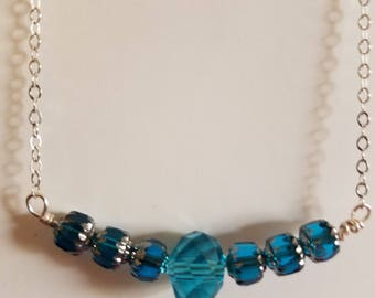Blue Green Crystal Bead Necklace, Blue Necklace, Green Necklace, Silver Bead Necklace, Crystal Necklace, Silver Necklace