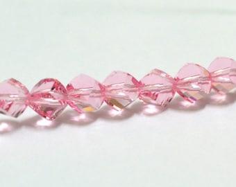 Light rose 6mm round crystal bead, Swarovski Crystal Round Beads 6mm, Light Rose beads, Article #5020 12 pcs
