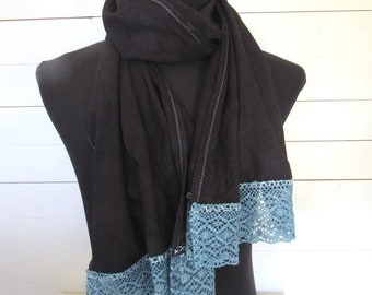 Hand Dyed Logwood Purple Indigo Wool Gauze Scarf