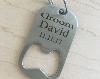 PERSONALIZED BOTTLE OPENER/ Key Chain Bottle Opener/Laser Engraved/Best Man Gift/Bachelor Party Gift/Fathers Day Gift