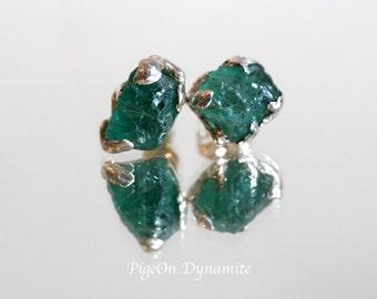Emerald Blue Raw Apatite Sterling Silver Stud Earrings/One of a Kind Emerald Apatite Silver Studs/Raw Apatite Studs/Apatite Simple Earrings