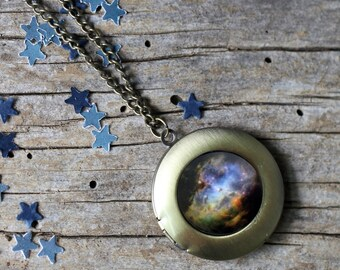 Eagle Nebula Galaxy Locket - Outer Space Necklace - Silver or Bronze - Unique Science Gift - Green Black Blue - Unique Cute Nerd Accessories