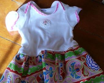 Pink/Floral Onesie Dress  - 6-9 months