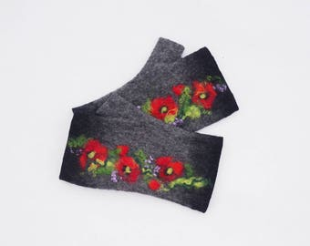 Felted Fingerless Gloves Fingerless Mittens Arm warmers Wristlets Merino Wool Black gray Red poppies