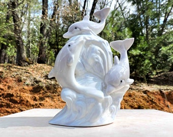 Dolphin Ceramic Vintage Figurine Playing In Waves
