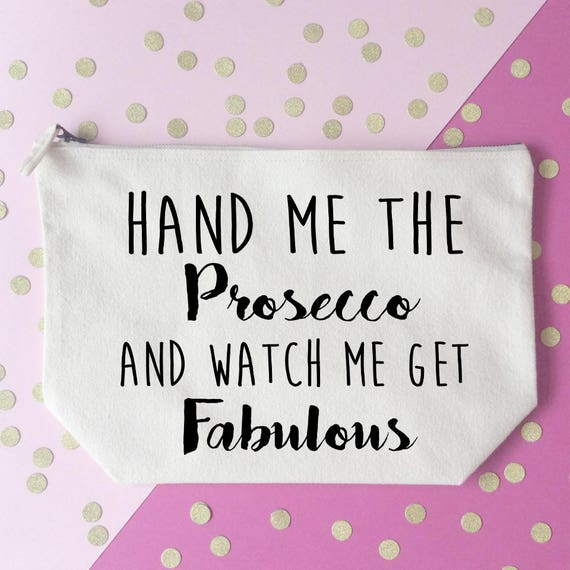 Free Mr And Mrs Quiz Questions: Prosecco Makeup Bag Cosmetic Bag Unique Gift Toiletry Bag