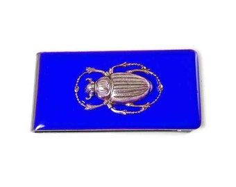 Egyptian Scarab Money Clip Inlaid in Hand Painted Enamel in Cobalt Blue Opaque Glossy Finish Customizable Colors and Personalized Option