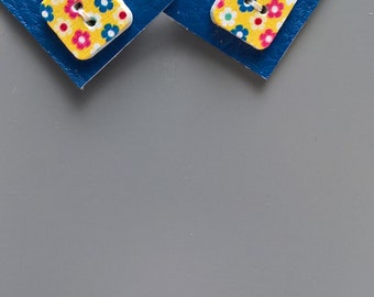 Earring square imitation navy blue leather