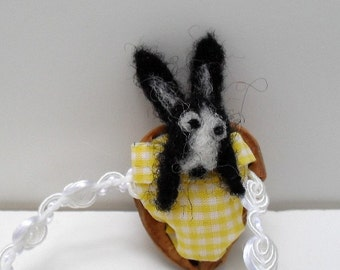 Needle felted rabbit in a walnut shell