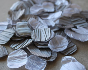 Silver, and White Crinkle Flower Petals * Wedding Decor * Baby Shower * Birthday Party * Table Decor