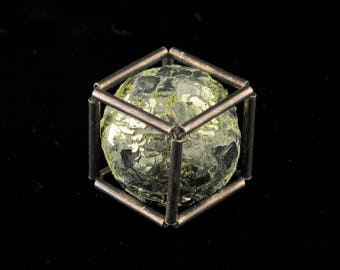 Pyrite Sphere in Sterling Silver Cube