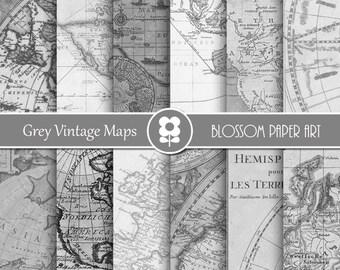 Vintage Maps Digital Paper, Grey Maps Digital Paper Pack, Old Maps Vintage Wedding Scrapbooking - INSTANT DOWNLOAD - 1981
