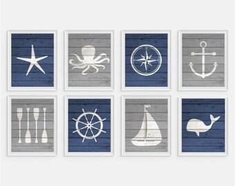 Nautical Art Prints, Children's Nautical Wall Art, Boys Room Decor, Nautical Nursery, Kids Nautical Art, Anchor, Starfish, Octopus, Set of 8