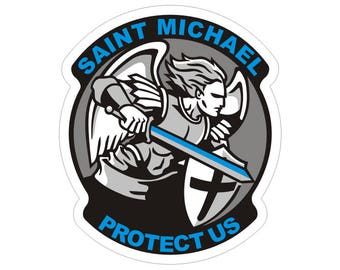 Arch Angel Saint Michael Thin Blue Line Police Officer Law Enforcement Sticker / Decal #199 Made in U.S.A.