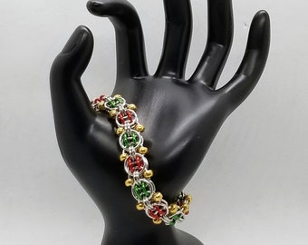 Red, Green, Gold and Silver Beaded Double Helm Chainmaille Bracelet*****Limited Edition