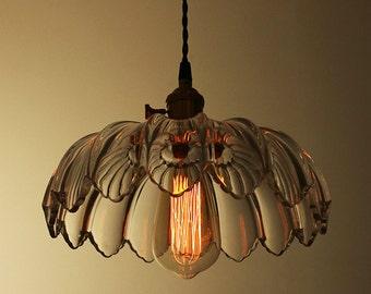 Floral Glass Ceiling Lamp - ceiling - pendant lamp - E27 - edison bulb - industrial style - DIY lighting - hanging lamp - Edison bulb lamp