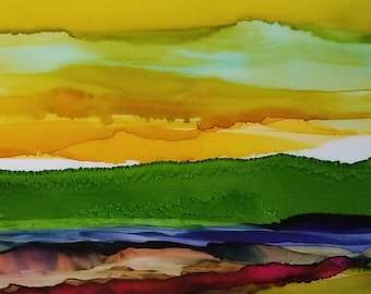 Wilderness - Original Alcohol Ink Painting / Original Art / Landscape Painting / Original Art Painting / One of a Kind / Abstract
