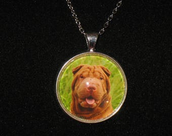 English Bulldog Dog Breed Glass Cabochon Silver Pendant Necklace 24 inch