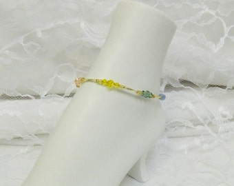 ANKLET - Swarovski Beaded Anklet, Swarovski anklet,Crystal anklet, Beaded jewelry,Bugle Bead anklet - Multicolor Crystal Anklet