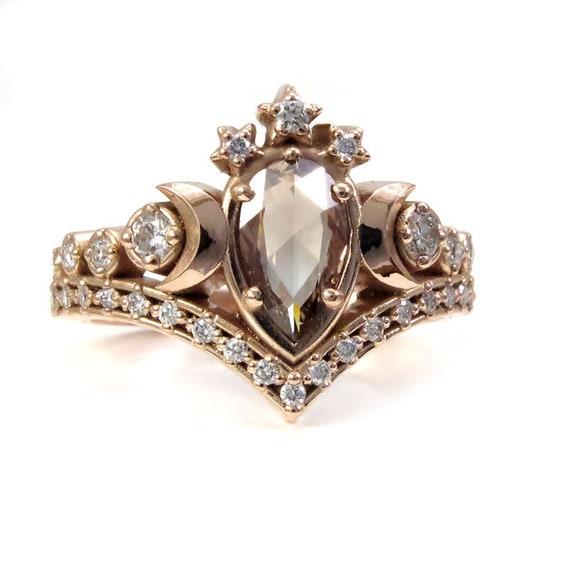 Lunar Priestess Diamond Engagement Ring with Rose Cut Pear Champagne Diamond