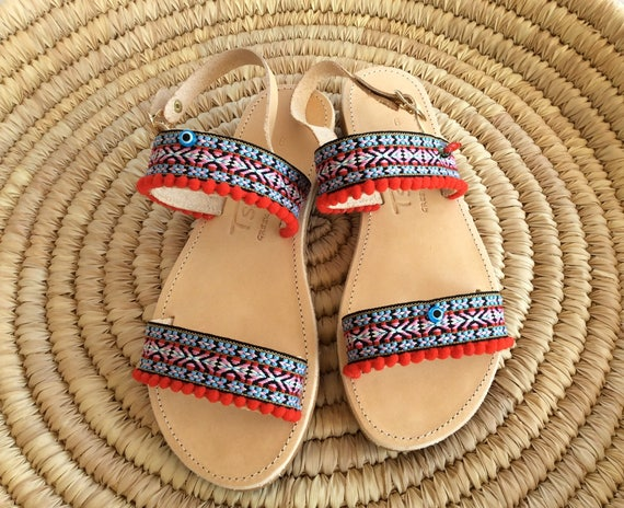 Chic Hippie Leather Boho for Bohemian Sandals Sandals Sandals Sandals pom Pom Greek Sandals Ethnic Greek Sandals Her Sandals Gift 1T4aA