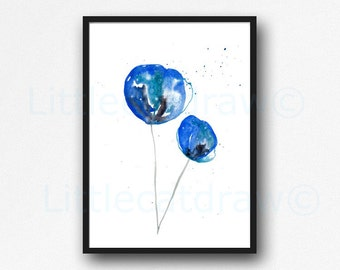 Blue Flowers Print Watecolor Painting Abstract Art Print Blue Flower Floral Decor Living Room Decor Wall Art