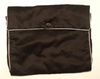 """Vintage Silk Hankie Holder / Lingerie Stockings Pouch / Scarf Holder / Brown with White Piping / 11"""" x 9.5"""""""