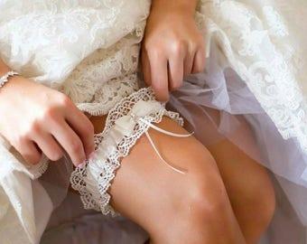 Alice Ivory Satin and Lace Wedding Bridal Garter