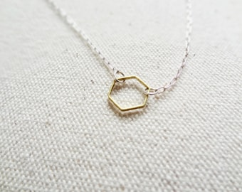 Hive - open brass hexagon necklace - minimal jewelry - sterling silver - brass - gift for her - geometric - simple jewelry - womens gift