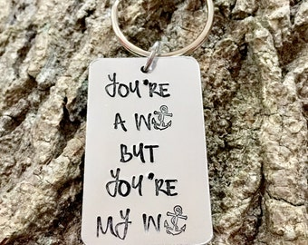 You're a Wanker, Hand Stamped Keyring, Valentines Gift, Valentines Day Gift, For Him, Funny Valentine Present, Gift For Him