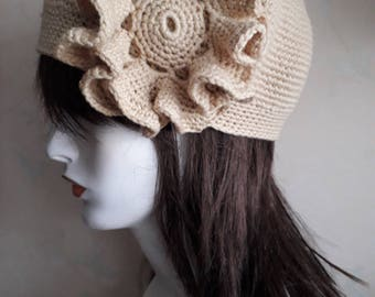 Crochet cloche hat handmade item, ready to ship, Organic wool,slouch hats for women
