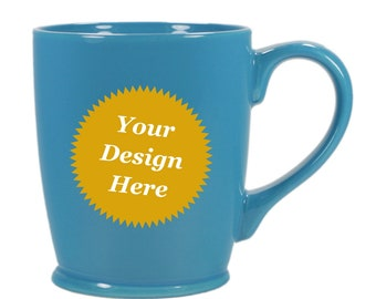 CUSTOM Coffee Mug, Sky Blue ceramic - Choose your etched design