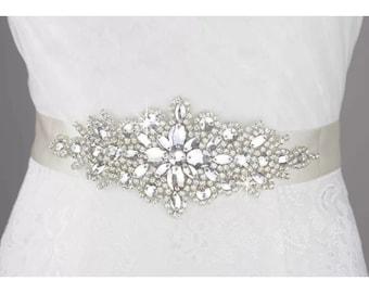 White/Ivory Crystal Beaded Jeweled Rhinestone Belt Sash Wedding Dress Accessory