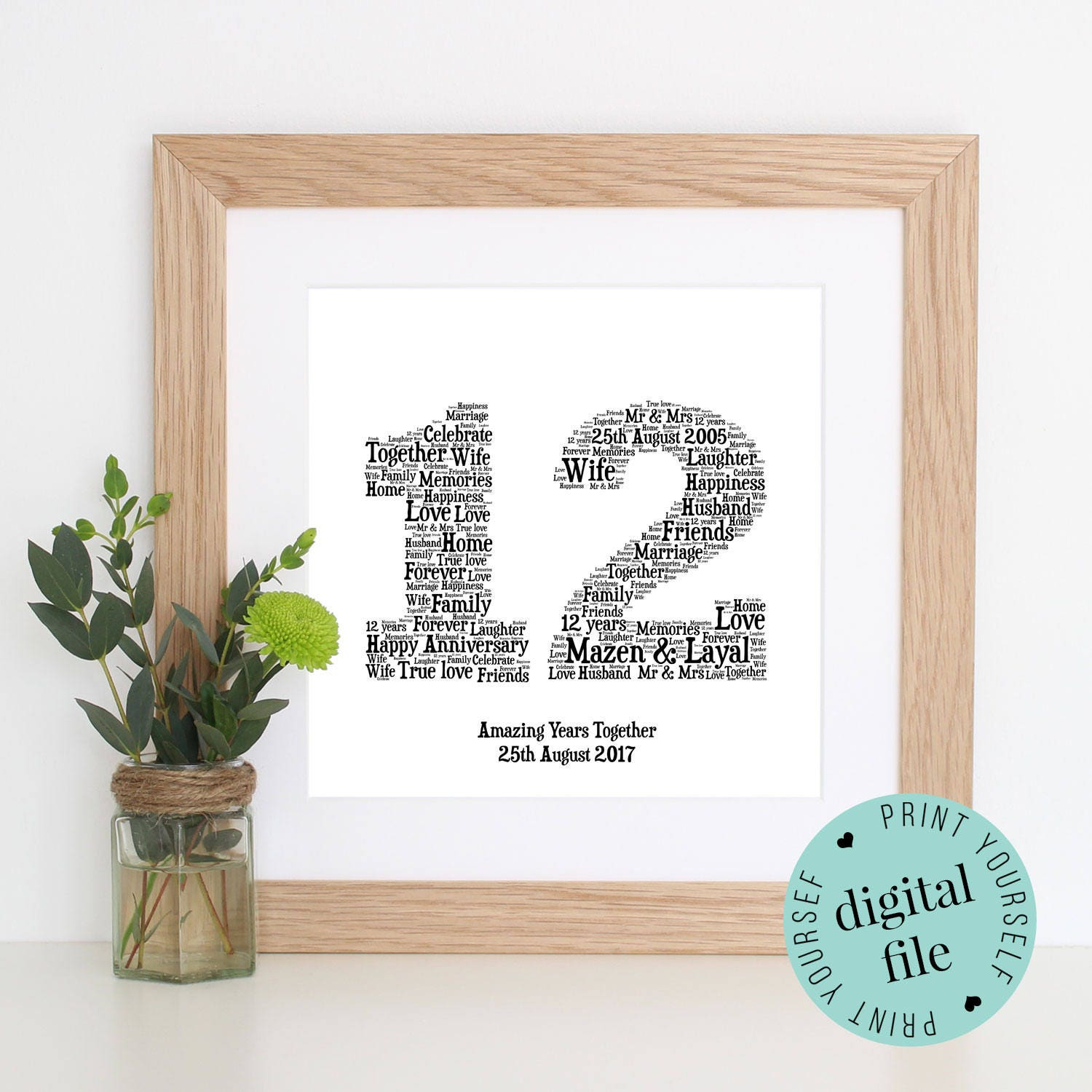 Personalised 12th Anniversary Gift Word Art Printable Gift