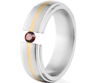 Tension Set Ring, 7mm, Uniequly You, Two Toned Titanium and Yellow Gold, Garnet, 7HRRC1G-14k-BR