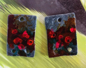 CHARMS painting poppies created earrings jewelry handmade polymer