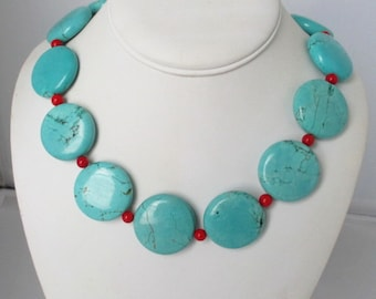 Blue Turquoise Coral Necklace. Free Shipping.