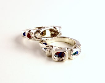 Silver ring with gold and enamel