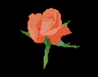 Orange Rose Cross Stitch Pattern PDF Digital Download
