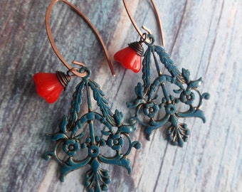 Verdigris and Red glass Earrings