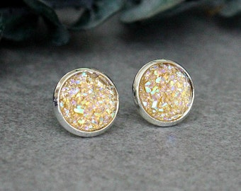 Champagne Stud Earrings, Champagne Druzy Earrings, Champagne Earrings, Champagne Post Earrings, Champagne Bridesmaid Earrings, Peach Studs