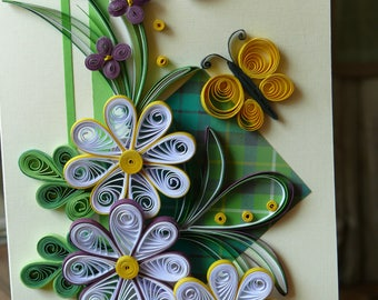 SALE!! 2 Quilling cards Greeting card Gift for mom  Happy Birthday card Quilled 3D flower