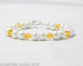 Sunflower Yellow Swarovski Crystal and Pearl Bracelet