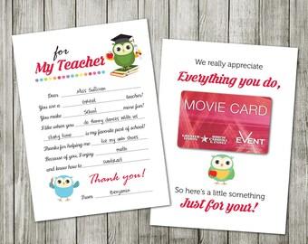 Teacher Appreciation Card, Teacher Gift Card,  Teacher Card, Thank you Teacher Gift Card, Teacher Appreciation Gift, Appreciation Week