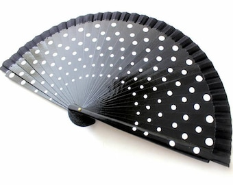 Hand Fans, hand fan, Abanico, fan in black with white dots