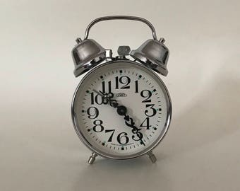 Vintage alarm clock, czech company Prim, two bells, 1991
