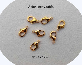 Clasp handcuffs stainless steel gold plated - antique goldtone - 12 x 7 mm - single or set of 3